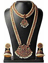 Necklace Set / Jewellery Set Set Bharatanatyam Jewellery With All Ornaments Made With Red Quality Kemp Stones...