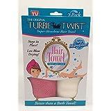 Turbie Twist Microfiber Hair Towel (2 Pack)Fushia-Cream