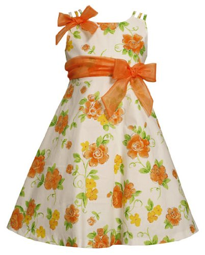 f916f117de0 Bonnie Jean LITTLE GIRLS 4-6X ORANGE GREEN WHITE GLITTERED FLORAL PRINT  TRIPLE STRAP Special Occasion Flower Girl Easter Party Dress Review