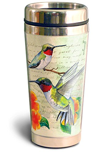 Vintage Bird Series 16oz Steel Travel Mug (Ruby Throated Hummingbird Postcard)