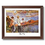 Renoir Lake Beach Boat French Landscape Home Decor Wall Picture Cherry Framed Art Print
