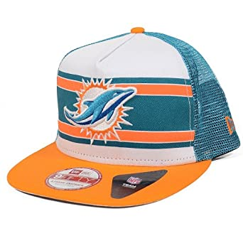 Miami Dolphins Band Slap A-Frame Mesh Trucker Snapback Hat by New Era