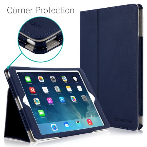 iPad Air Case, [CORNER PROTECTION] CaseCrown Bold Standby Pro (Blue) with Sleep / Wake, Hand Grip, Corner Protection, & Multi-Angle Viewing Stand