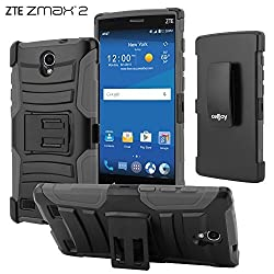 ZTE Zmax 2 Case, CellJoy [Ultra Rugged Hybrid] {Gray} ZTE Z958 2015 Release Model Dual Layer **ShockProof** Reinforced Bumper Protection Cover **Kickstand** [Locking Swivel Belt Clip Holster Combo]