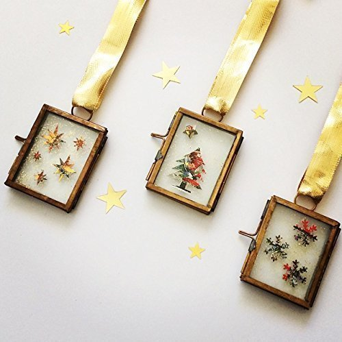 christmas-decorations-in-vintage-brass-frame-featuring-postage-stamps-set-of-3
