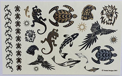 Temporary Tattoos - 4 Pages of Fun Metallic Temporary Tattoos for ...