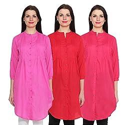 NumBrave Pink, Red & Darkpink Long Cotton Top (Pack of 3)