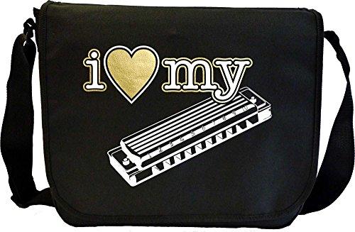 Harmonica-I-Love-My-Sheet-Music-Document-Bag-Musik-Notentasche-MusicaliTee