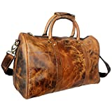 20 inch Leather Travel Duffel Bag ~ Special Pockets Inside ~ Gym Overnight Weekend