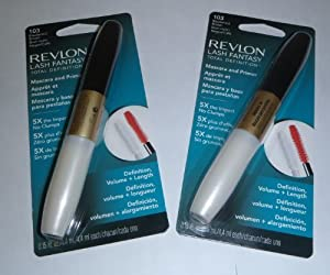 2 PACK Revlon Lash Fantasy Total Definition Mascara and Primer .15 oz - Blackened Brown 103