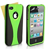 Black And Green 2-Part Hard Back Case Cover For Apple iPhone 4/4S With Screen Protector Film