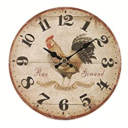 Blossom Bucket 1566-71921 Rooster Round Wall Clock, 5-3/4