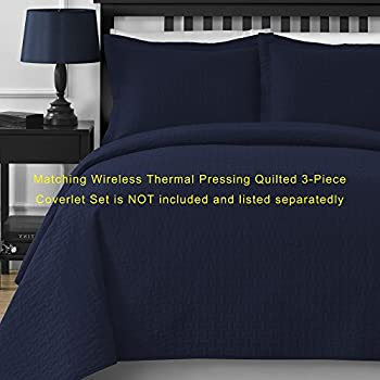 Comfy Bedding Frame Jacquard Microfiber Full 5-piece Comforter Set, Navy Blue