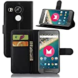 Nexus 5X Case, Nexus 5 2nd Gen Case, iPegtop Wallet Flip Leather Case Stand, Card Slots Pocket Folio Cover For LG Google Nexus 5X / Nexus 5 2nd Generation 2015 (Carbon Black)