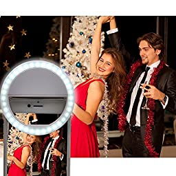 OldShark 36 LED Selfie Ring Light 3-Level Brightness Clip On Spotlight Video Fill Light for iPhone iPad Macbook Smart Phones