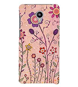 Printvisa Pink And Puple Flowers Back Case Cover for vivo V3