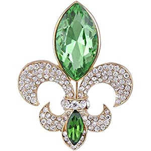 Ever Faith Gold-Tone Austrian Crystal Elegant Fleur-de-lis Flower Teardrop Brooch Apple Green N04482-4