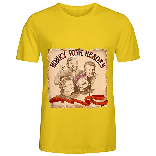 Willie Nelson Honky Tonk Heroes Soundtrack Mens O Neck Music Tee Yellow (Tied To The Tracks compare prices)