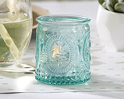 Vintage Blue Glass Tealight Holder (Set of 4)
