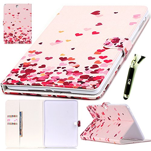 Galaxy T530 Leather Cases, ZZQ PU Leather Flip Soft TPU Stand Protective Case Magnet Design Flip Wallet Case and [Card Slot] For Samsung Galaxy Tab 4 10.1-inch SM-T530NU/T530/T531/T535, Love heart