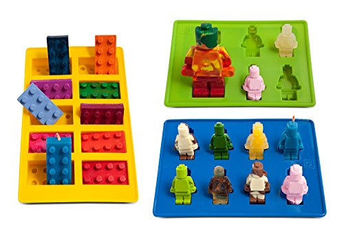 Silly Candy Molds & Ice Cube Trays - Lego Building Bricks and Figures, Set of 3