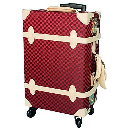 キャリーケース HANAism 市松模様 TSAロック トランクキャリー Lサイズ 21インチ 4輪 (39/レッドキューブ・ベージュ)