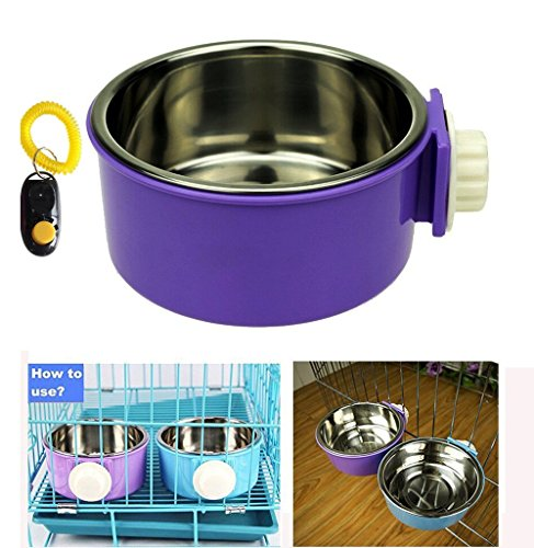 Pet Leso® Removable Stainless Steel Hanging Bowl Cat Bowl Dog Water Bowl Birds Food Bowl with Dog Training Clicker -Purple