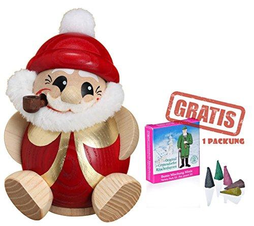 Para montar en forma de bola de Navidad de arte popular personaje de Papá Noel de colour rojo-oro, 11 cm de alto. 19182. Incluido 1er paquete incluye en forma de velas de coloures de mezcla de cazas