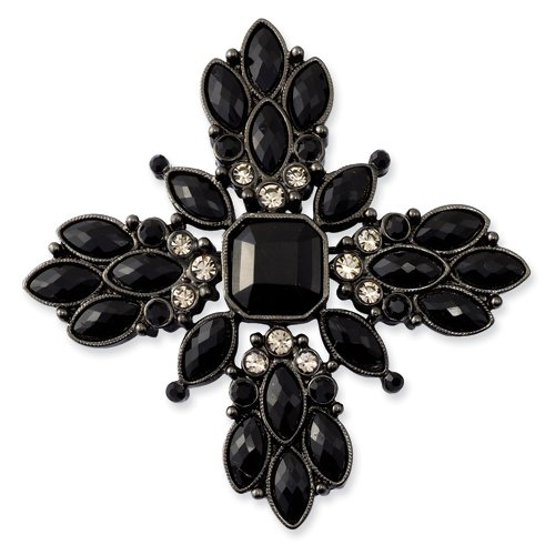Black-Plated Smokey & Black Crystal Pin