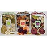 Manu Home Tranquil Potpourri Trio Gift set includes 3 of our Best Selling scented potpourris. Each Box Over 12 oz ~  Our Potpourri Trio set is made with plant-based ingredients to create a light, clean scent that gently and evenly dissipates througho...