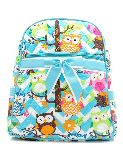 Quilted Owl Chevron Backpack Aqua