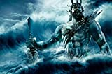 John Fashion Promotion Painting Wall Art Poseidon The Greek God Of Sea Fantasy Artwork Fabric Poster Print Picture