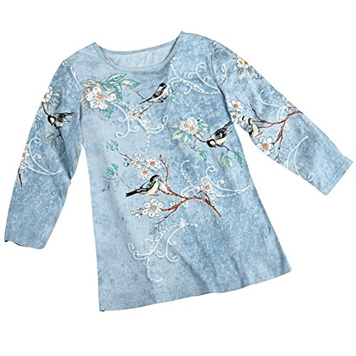Chickadee Long Sleeve Novelty Top Misses Blue Medium