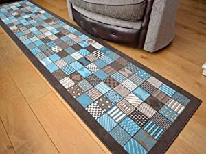 Trend Brown Teal Window Design Rug. Available in 8 Sizes (70cm x 300cm) from Rugs Supermarket