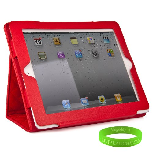 Red Padded iPad Skin Cover Case Stand with Screen Flap and Sleep Function for all Models of The New Apple iPad ( 3rd Generation, wifi , + AT&T 4G , 16 GB , 32GB , 64 GB, MC707LL/A , MD328LL/A , MC705LL/A , MC706LL/A , MD329LL/A , MD368LL/A , MC756LL/A , MC744LL/A ect.. ) + Live * Laugh * Love Vangoddy Trademarked Wrist Band!!!
