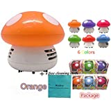 Makhry Mushroom Shaped New Portable Corner Desk Vacuum Cleaner Mini Cute Vacuum Cleaner Dust Sweeper (orange)