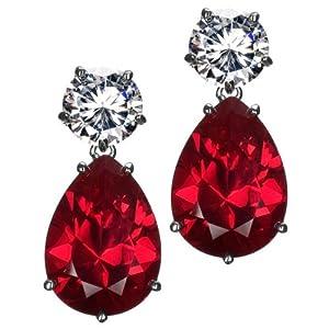 Celebrity Style Fashion Jewelry - Penelope Cruz - Carol's 26 TCW CZ Red Drop Earrings