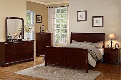 Vintage Louis Phillipe Cherry Wood King Size Bedroom Set Featuring French Style Sleigh Platform Bed And Nightstand