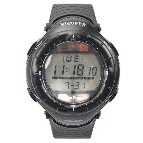 Alike Stylish Solar Energy Digital Electronic Water Resist Silicone Wrist Watch Black