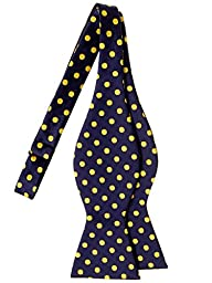 Retreez Classic Polka Dots Woven Microfiber Self Tie Bow Tie - Navy Blue with Yellow Dots
