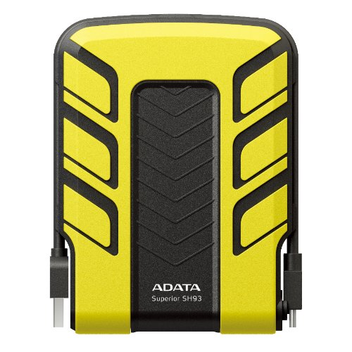 ADATA 500GB Yellow External USB Hard Drive SH93-500GB (Shockproof, Waterproof, Rubber Material Casing, Wrap Around USB 2.0 Cable, Bright Blue LED)