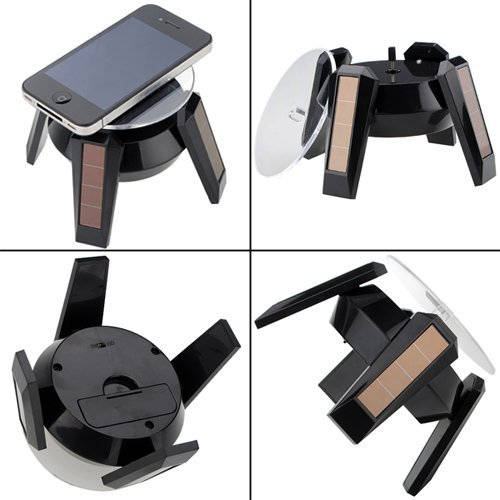 New Solar Powered Energy Jewelry Rotating Rotatary Display Stand Turn Table With Led Light (Black)