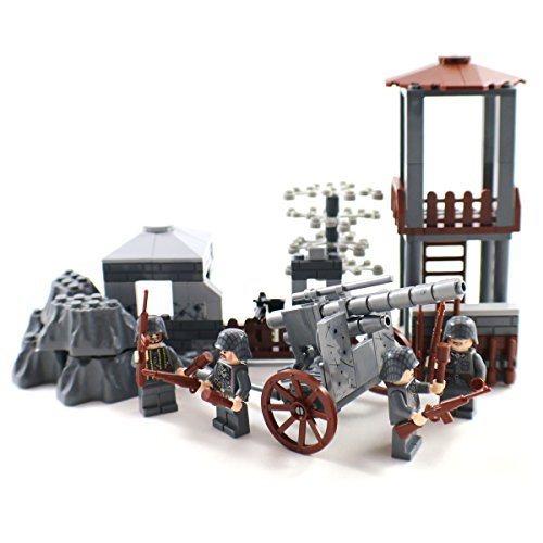 WW2 German Army Outpost with Artillery and Soldier Minifigures - Military Building Block Toy (Lego World War 2 Sets compare prices)