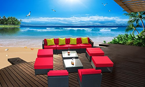 12 pcs Luxury Wicker Patio Sectional Indoor Outdoor Sofa Furniture set - Red Cushion