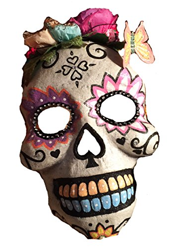 Katherine's Collection Day of the Dead Glitter Sugar Skulls Decorative Mask (Blue/Yellow Teeth)