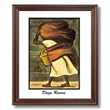 Diego Rivera Mujer Con Canasta Woman Laundry Home Decor Wall Picture Cherry Framed Art Print