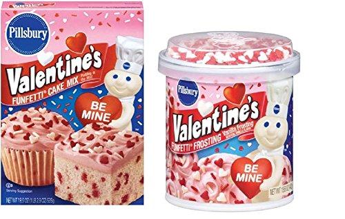 Valentine's Funfetti Cake Mix plus Funfetti Vanilla Frosting (Pack of two) (Pillsbury Plus Cake Mix compare prices)