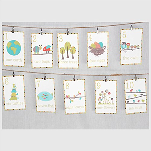 Woodland Number Counting Wall Cards in English, Set of Ten 5x7 Wall Art Prints, Forest Animal Nursery Wall Art Decor, Kid's Art Decor, Gender Neutral Nursery, Nature Themed, Woodland Nursery