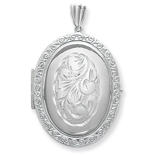 Sterling Silver Full Engraved Family Oval Locket On A 16 Inch Snake Necklace
