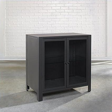 Sauder Soft Modern Occasional TV Stand, Charcoal Gray
